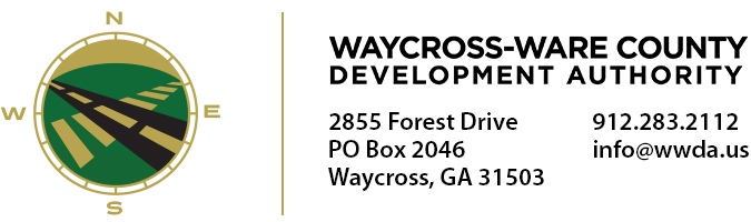 Waycross - Ware County Development Authority | 2855 Forest Drive | PO Box 2046 | Waycross, GA 31503 | 912.283.2112 | info@wwda.us