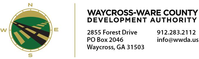 Waycross - Ware County Development Authority | 2855 Forest Drive | PO Box 2046 | Waycross, GA 31503 | 912.283.2112 | info@wwda.us